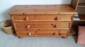 small and narrow pine chest of drawers