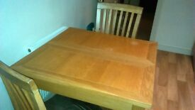 Oak dining table and 2 matching chairs £60