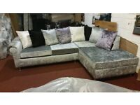 L SHAPE VELVET SOFA HAND MADE BRAND NEW PACKED £375 PLUS FREE DELIVERY !!!!