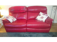 Red Leather Recliner Two Seater Sofa and Armchair