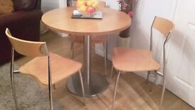 Round oak & crome table 4chairs