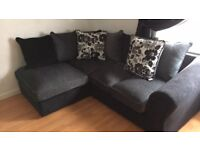 Charcoal and black corner sofa