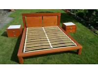 REDUCED! King size bed, side units and chest of drawers