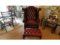 CHESTERFIELD QUEEN ANNE HIGH WINGBACK CHAIR & FOOTSTOOL