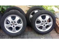16 inch Vauxhall ZAFIRA VECTRA ASTRA ALLOYS WITH GOOD TYRES 5 STUD 5 × 110