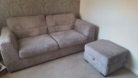 3 seater sofa with storage footstool excellent condition no smokers or pets