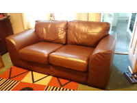 2 Seater Chocolate Brown Leather Sofa with wooden feet