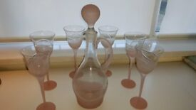 Handmade Pink Frosted Decanter & 6 Wine Glasses