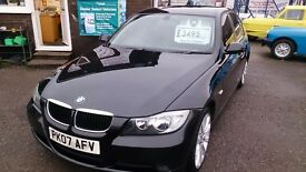 VERY CLEAN 2007 BMW 318 I ES 4 DOOR SALOON IN BLACK AUG 2017 MOT 111K WITH F/S/H ALLOYS CD E/W E/M +