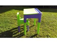 Childs plastic desk and chair