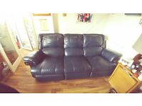 Navy leather 3 seater manual reclining