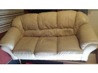 3 seater beige leather sofa