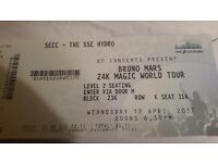 BRUNO MARS 12TH OF APRIL GLASGOW HYDTO...1 SEATING TICKET FANTASTIC VIEW
