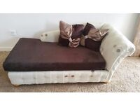 STYLISH REUPHOLSTERED CHAISE LOUNGE SOFA BED FOR SALE.
