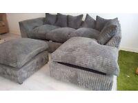 Grey Cord Sofa with Footstool