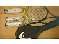Tennis racket and balls plus carry case