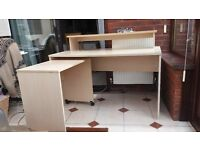 Large Desk with Wheeled Extension and Shelf
