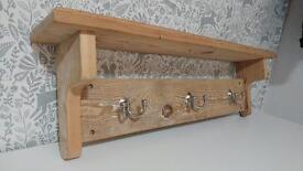 Solid Wood Coat hooks and shelf