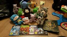 Mixed plush toys and books (batman books, pokemon, wolf)