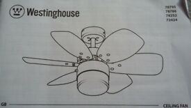 Unused Westinghouse Flora Royal 76cm Ceiling Fan with central light