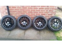 """18"""" Black Alloy wheels and tyres only one week old. Great looking wheels. £500 ONO."""