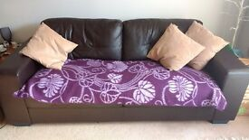 3 Seater Sofa with Throw and Cushions FREE