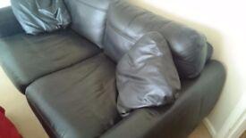 Black leather large 2 seater sofa