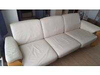 Leather sofa with three places 2m
