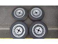 4 x Melber wheels 4x100 13 inch like BBS with tyres