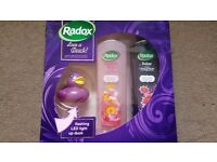 Brand new, unused Radox bath soak set with flashing rubber duck