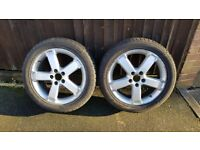 Two tyres almost new 205 50 R17 on alloy wheels
