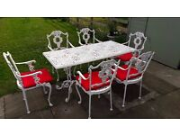 Metal Garden Table and 6 matching chairs