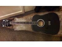 Acoustic guitar left handed, electric tuner, plectrums, learner book