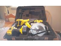 Used Dewalt 18v cordless tools kit in box, DRILL/RECIP.SAW/CIRC.SAW/BATS/CHARG, see photos & details