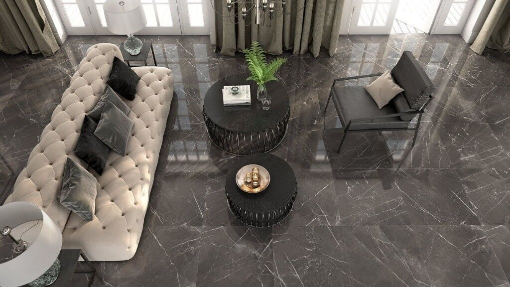 Gloss Porcelain Black Floor Tiles Museumported From Spain