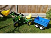 Rolly Toys John Deere 6920 Pedal Tractor with maxi loader and New Holland trailer
