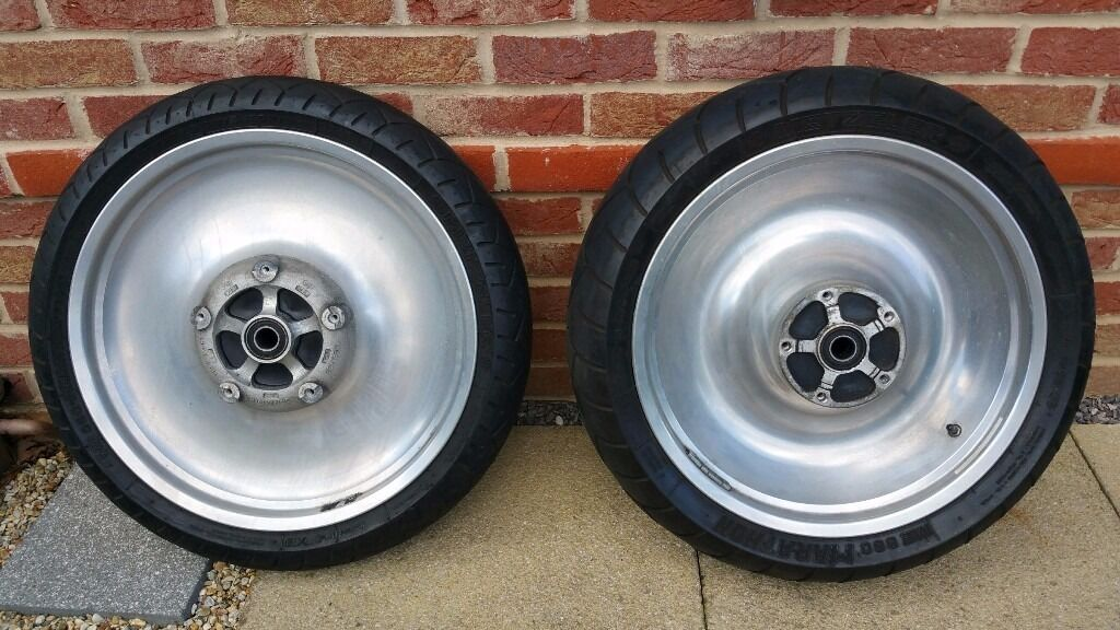 HARLEY DAVIDSON V ROD SOLID ALUMINIUM WHEELS AND TYRES GOOD CONDITION