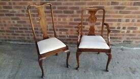2 MAHOGANY DINING CHAIRS ONE CARVER AND ONE CHAIR