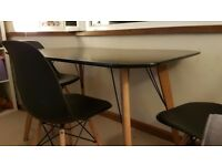 Black dining table and 3 chairs