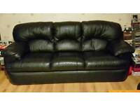 Black leather 3 piece sofa set