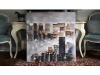 Painting of skyline. Beautiful large canvas.