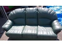2 chairs and 3 seater leather green
