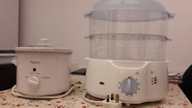 Clean and tidy mini slow cooker and food steamer. Both in good working order.