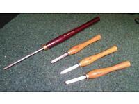 4x Wood Turning Lathe Chisels Tools