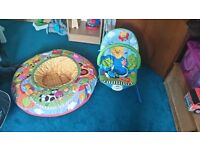 Baby bouncer and and colourful toddle ring/donut