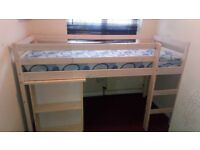 Shorty cabin bed with desk and mattress