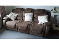 Three and two seater recliner sofa brown swede good condition quick sale due buying a new sofa