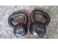 Cast iron kettlebells - 8kg and 12kg