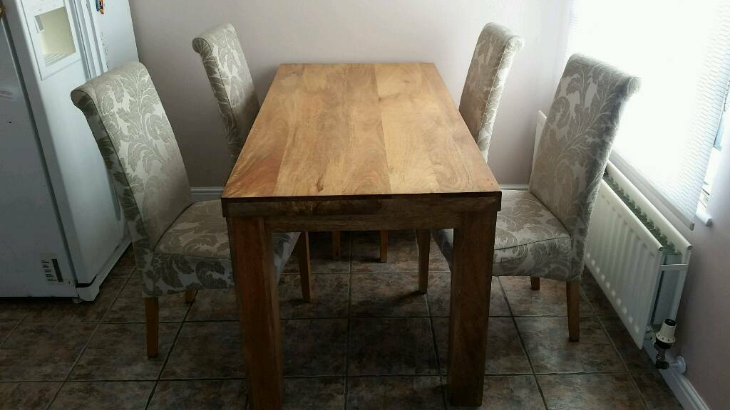 Chunky 5ft Oak Table & 4 Scroll Back Chairs