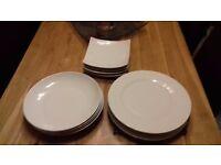 White china, dinner plates